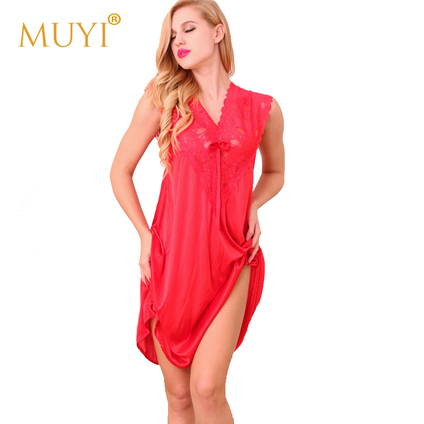 Babydoll Sleepwear Women Lace Nightgowns Sleepshirts Sexy Night Dresses V Neck Nightdress Nightwear Home Wear Summer Nighty 2018