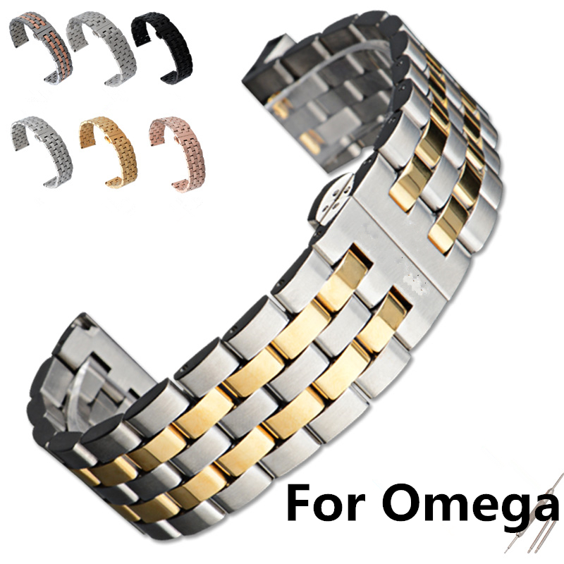 Luxury Brands,16mm/18mm/19mm/20mm/21mm/22mm Men Women Full Stainless Steel Butterfly Clasp Watchband Strap For Omeg With LOGO luxury brands 20mm 21mm mens full stainless steel butterfly metel clasp waterproof strap for role driving sport watch with logo