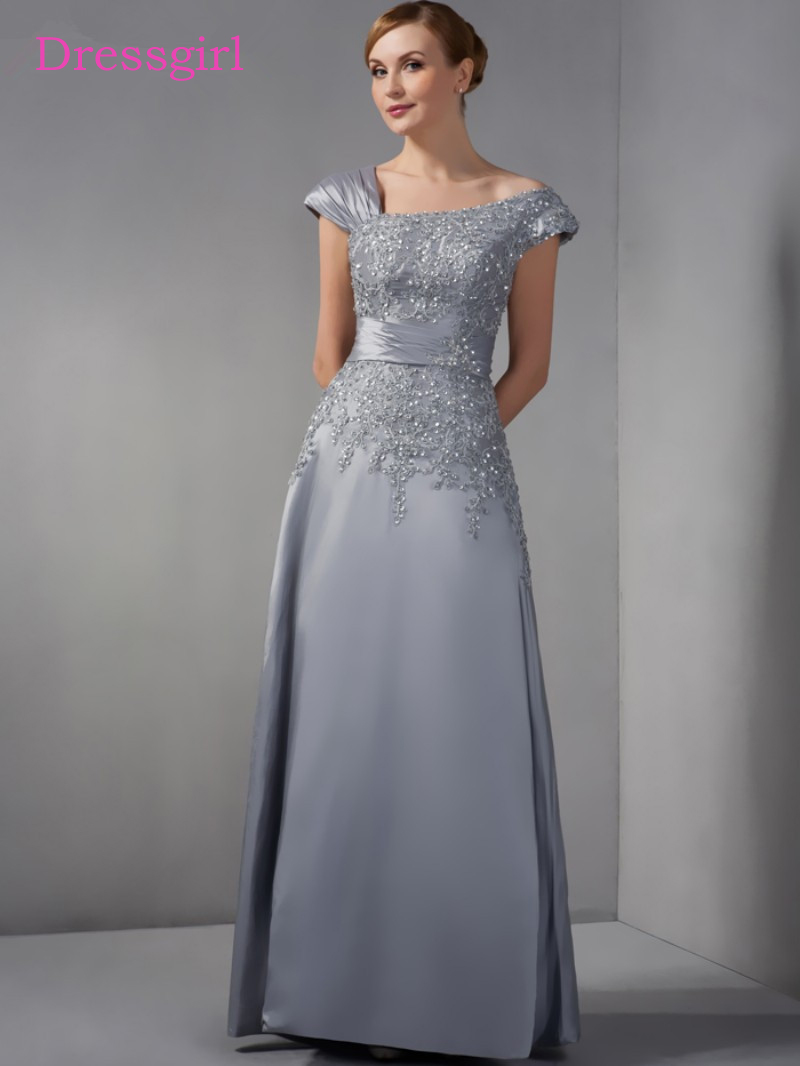 Gray 2019 Mother Of The Bride Dresses A-line Cap Sleeves Chiffon Lace Beaded Long Elegant Groom Mother Dresses For Wedding