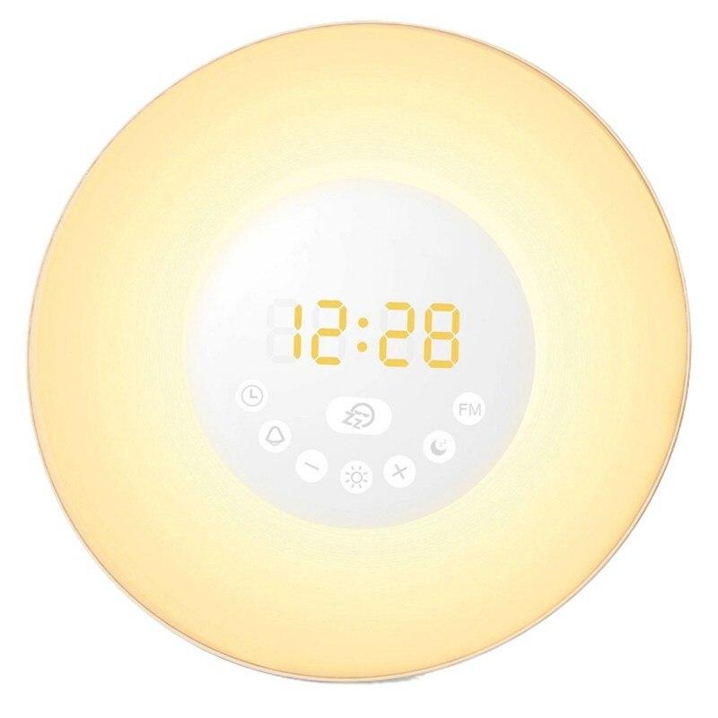 LED Lights Digital Alarm Clock Colorful Light with Snooze Mode Wake Up FM Radio