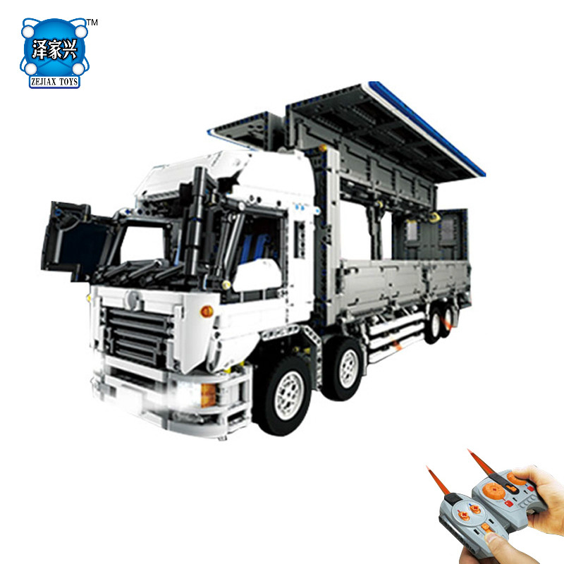 Hot Moc Radio Ramote Control Wing Body Truck Building Block Model with Light 9 Motors Lepins Technic Bricks RC Toy Figures Gifts technican technic 2 4ghz radio remote control flatbed trailer moc building block truck model brick educational rc toy with light