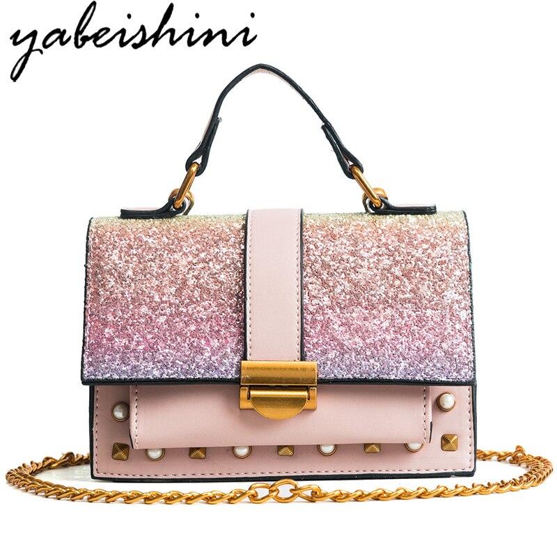 YABEISHINI Fashion Women Sequined Messenger Bag Quality Leather Womens Flap Bag Chain Strap Female Shoulder Bag Crossbody Bags