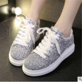 Brand Casual Shoes Woman Fashion Lace-Up  Flats Summer Autumn Glitter Creepers women Casual Platform Shoes Sliver size 35-39