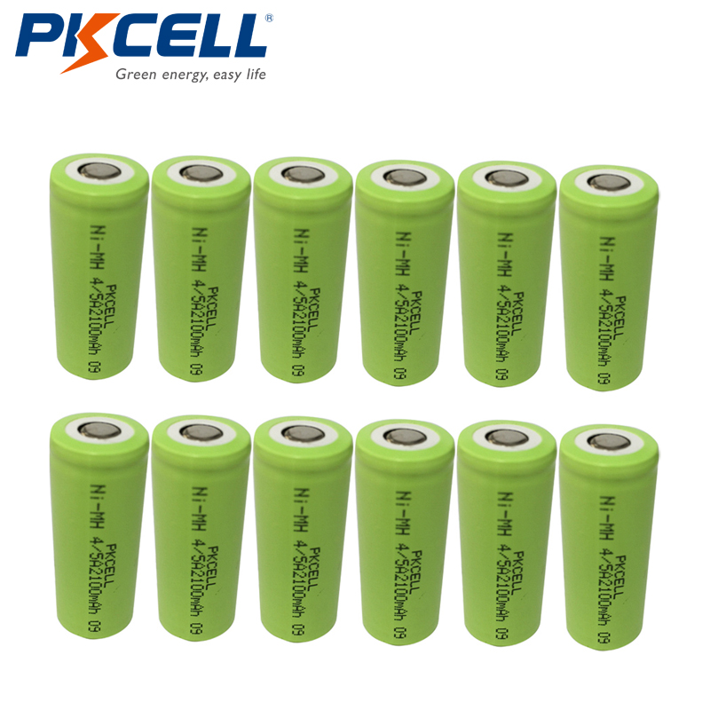12pcs PKCELL 1.2V 2100mAh Ni-Mh Rechargeable Size 4/5A NiMh Batteries Flat Top For Soldering