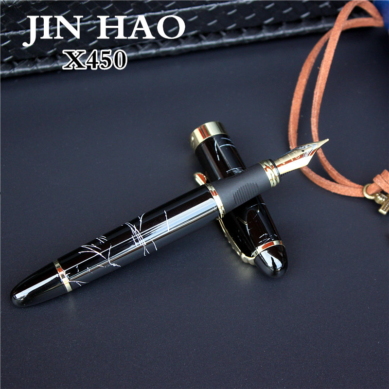 JINHAO X450 avancée fontaine stylo 18 k GP Plume encre stylo 23 couleurs peut choisir l'emballage avec noir stylo poche vente chaude