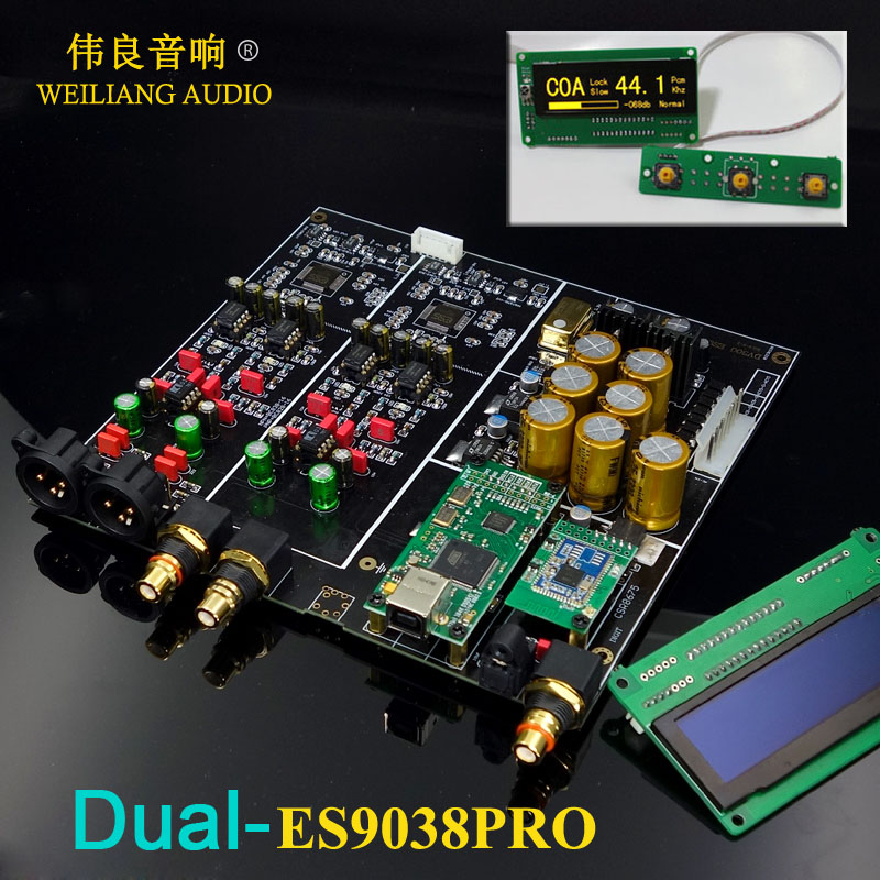 2019 New ! HIFI Dual ES9038PRO + XMOS XU208 / Amanero USB Decoder DAC Board Support Add Bluetooth 5.0