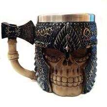 3D Skull Mugs Resin+Stainless Steel Axe Skull Knight Handgrip Viking Skull Warrior Coffee Beer Water Drinking Geek Mug Cups