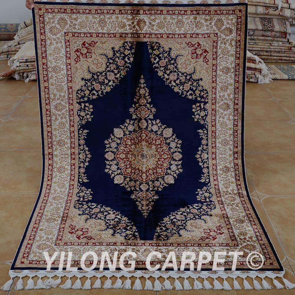 Yilong 4 X6 Traditional Tabriz Carpet Dark Blue Vantage Cheap