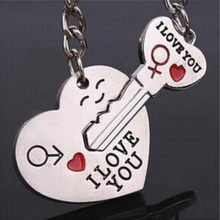 Newest Couple I LOVE YOU Heart Keychain Ring Keyring Key Chain Lover Romantic Creative Birthday Gift(China)