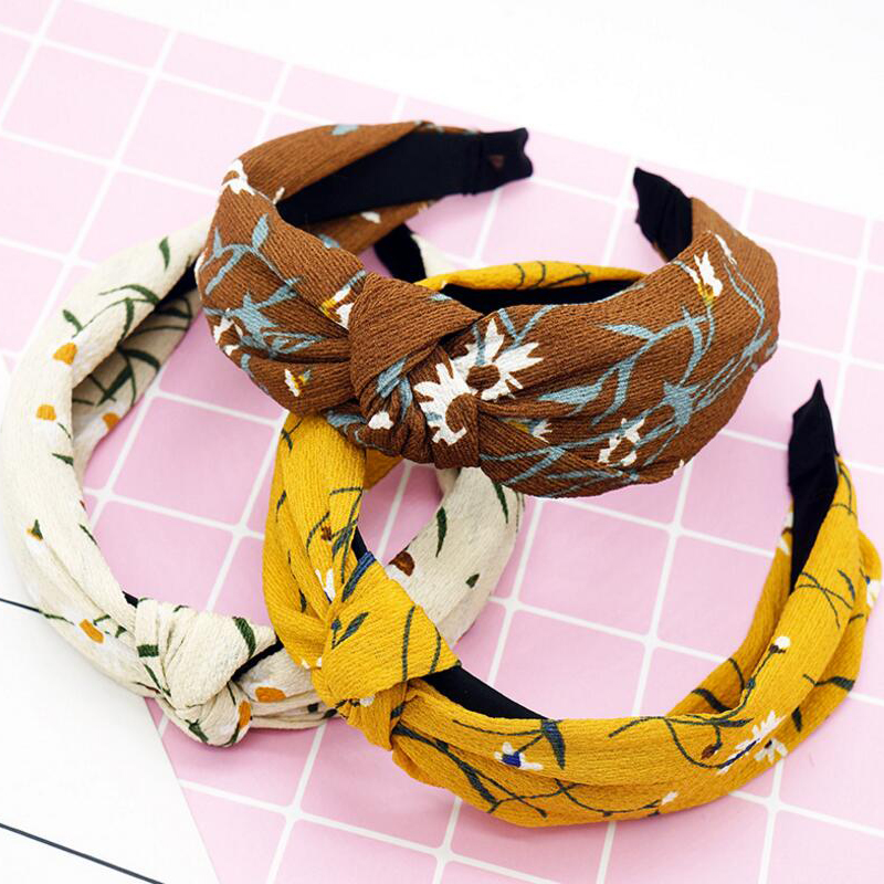 2018 TWDVS Hats Cute Knot Plastic   Headwear   Lady Headbands for Women Floral Print Fabric Wide Hairband Girl Hair Accessories