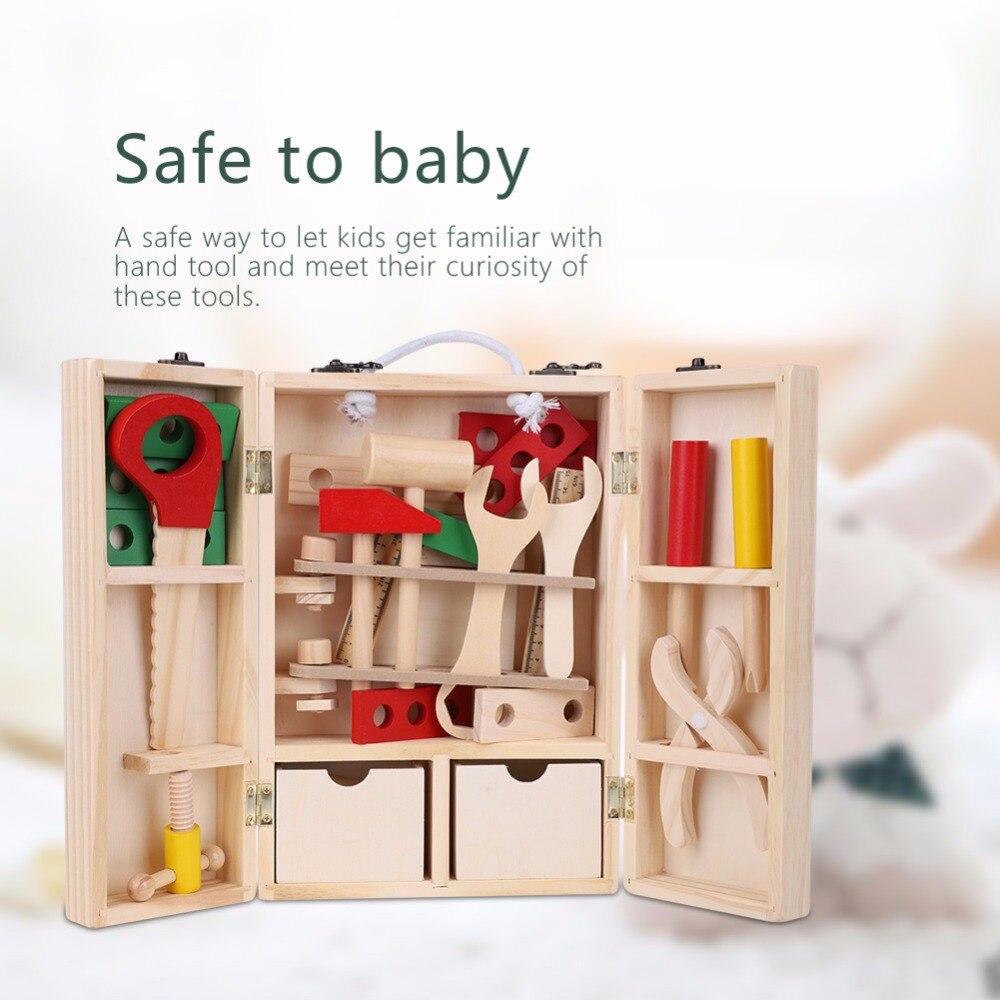 Дети претендует игрушки деревянные инструменты для ремонта игрушки строительного инструмента Наборы 2018 дети ребенок дошкольного образова... ...