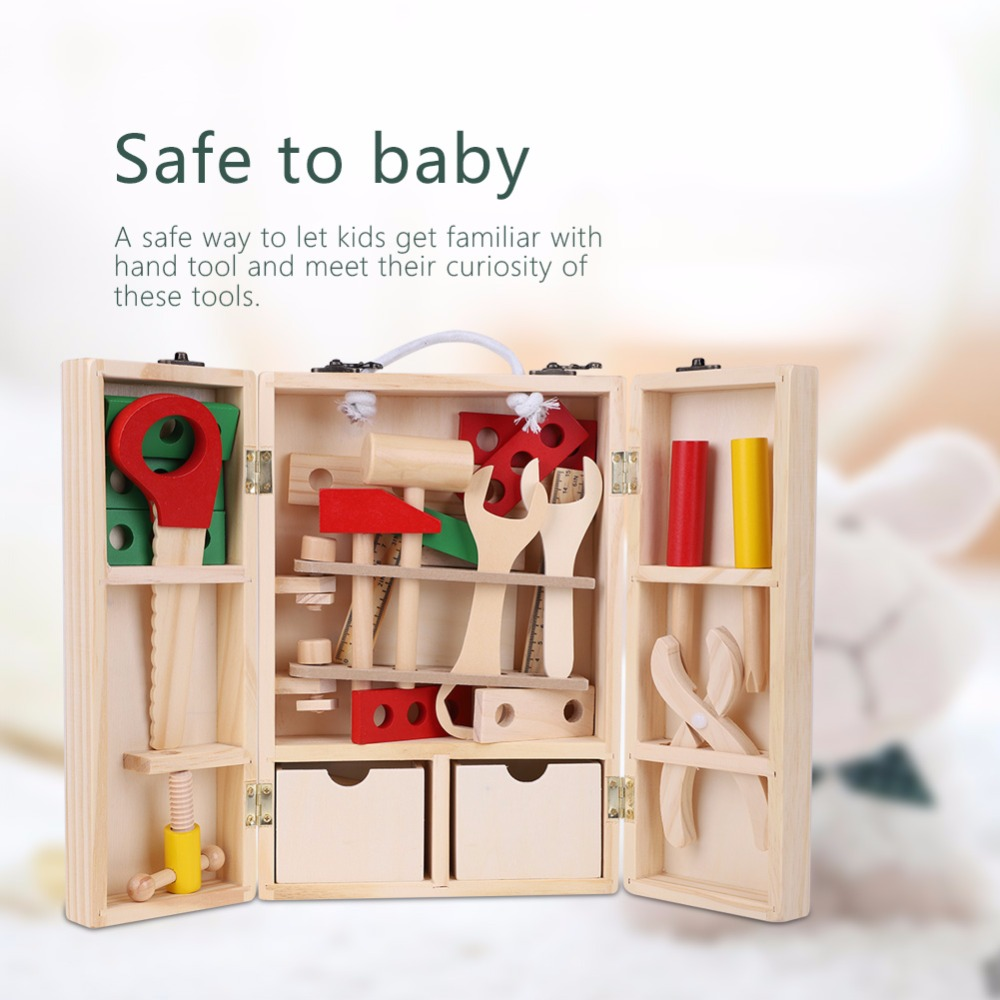 Kids Pretend Play Toys Wood Repair Tools Toys Building Tool Kits Set 2018 Kids Baby Early Educational Wooden Toys Children Tools ...