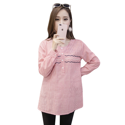 36e582294 Camisas de algodón para las mujeres embarazadas primavera manga larga  embarazo Tops y blusas moda rayas ropa de maternidad ocasional otoño C323