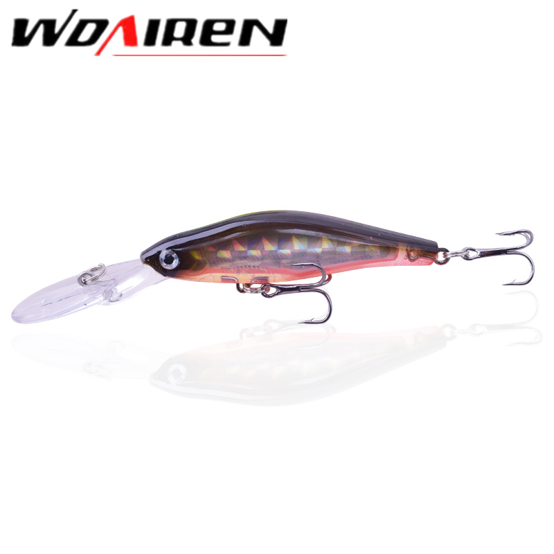 1Pcs laser Floating Minnow Fishing Lure Wobblers 9.5cm 6.9g Laser Hard Artificial Bait 3D Eyes Fishing Crankbait Pesca WD-063 1pcs 20cm 45g fishing lure large minnow lure artificial 3d eyes hard minnow baits with hooks fishing tackle senuelos de pesca