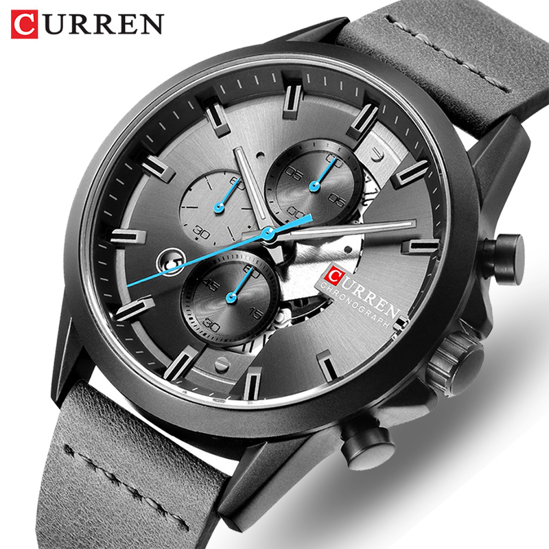 CURREN Luxury Brand Men's Chronograph Quartz Watch Men Fashion Military Sport Wristwatches Leather Waterproof Analog Male Clock