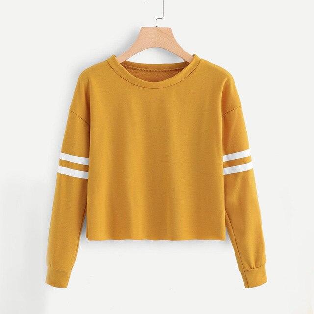 calidad estable precio inmejorable el mejor US $6.26 10% OFF|Sweatshirt Crop Top Hoodie Full Sleeve Stripe Printing  Round Neck Korean Style Women Ropa Juvenil Mujer-in Hoodies & Sweatshirts  from ...