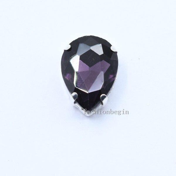 Все размеры слеза 24-Цвет стекло камень Пришить с украшением в виде кристаллов Стразы diamantes для шитья серебряной оправе в виде когтя для рукоделия Костюмы аксессуары - Цвет: violet