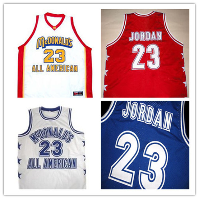 e121555c07d #23 MICHAEL JORDAN McDONALD'S ALL AMERICAN JERSEY NEW BLUE SEWN MESH,CUSTOM  ANY SIZE,Name and number Stitched XS-6XL