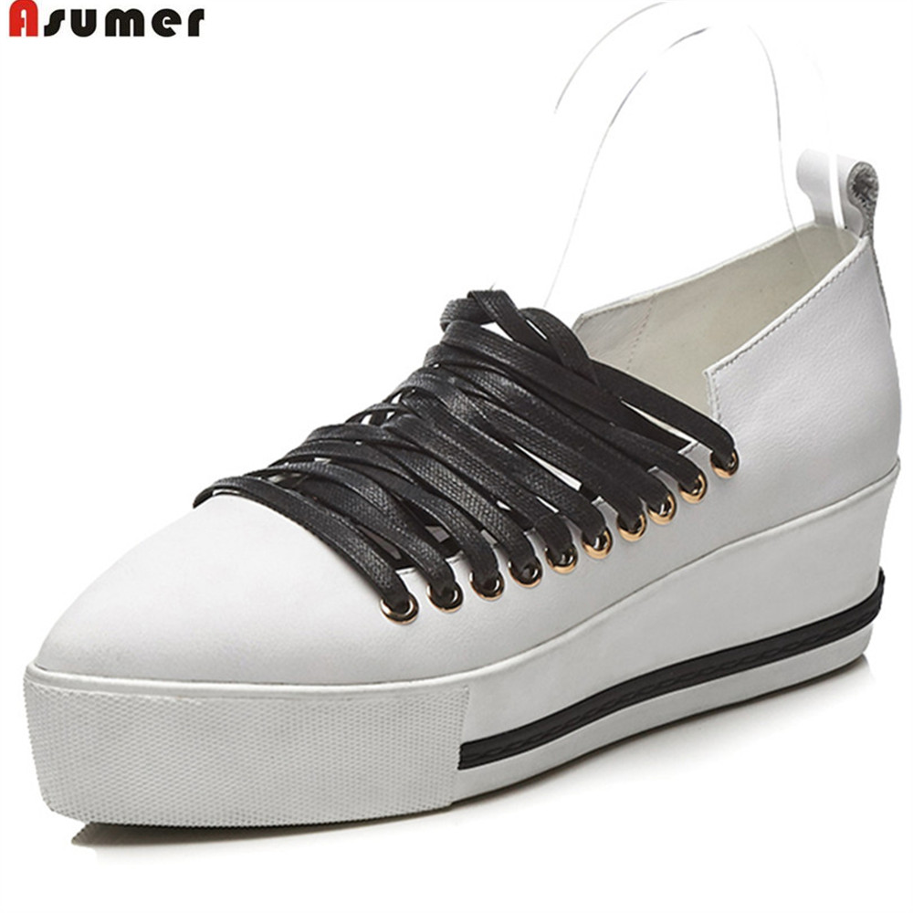 ASUMER black white pointed toe cross tied spring autumn single shoes flat platform casual women genuine leather flats shoes 2016 women leg cross lace up single flat gold silver shoes lady pointed toe sole single shoes hot female stra shoes 35 39