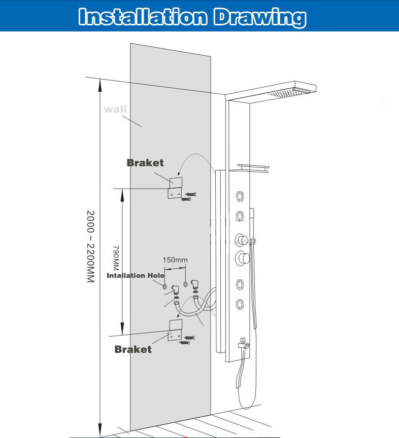 HTB1c kEnGSWBuNjSsrbq6y0mVXaQ - Newly Luxury Black/Brushed Bathroom Shower Faucet LED Shower Panel Column