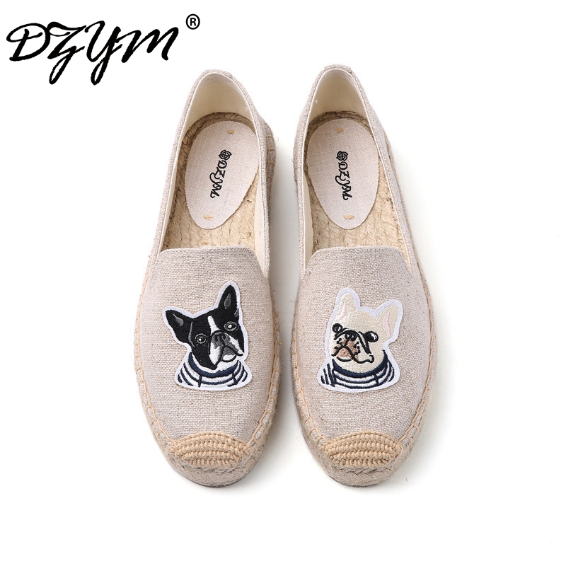 все цены на DZYM 2018 Summer New Arrival Women Fishermen Shoes Flax Hemp Canvas Espadrilles High Quality Loafers Bulldog Embroider Flats