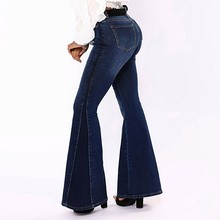 2555eb2ec7c78 2019 vaqueros push up denim clásico gran flare Jeans Mujer Pantalones  longitud completa plus tamaño señoras novio Mujer Pantalon.