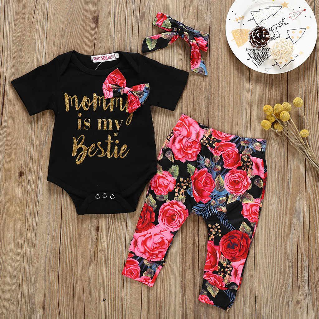 יילוד תינוקת בגדי תינוקות תינוקת סטי מכתב Romper + פרח הדפסת מכנסיים + גומייה לשיער תינוקת תלבושות אנסמבל bebes Fille