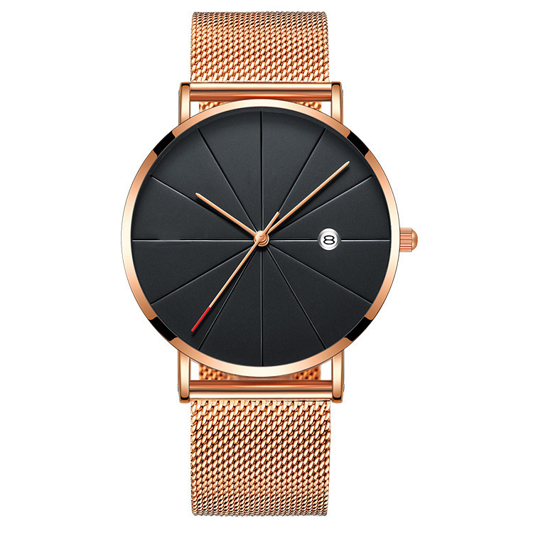 Fashion new mens alloy metal mesh straps business date calendar watches men male trend line leisure