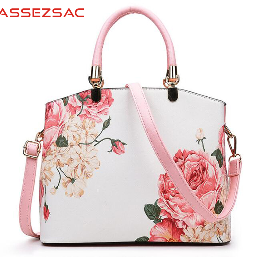 Assez sac hot women leather handbags fashion women messenger bag flower print handbag leather totes bag pouch bolsas DH0147