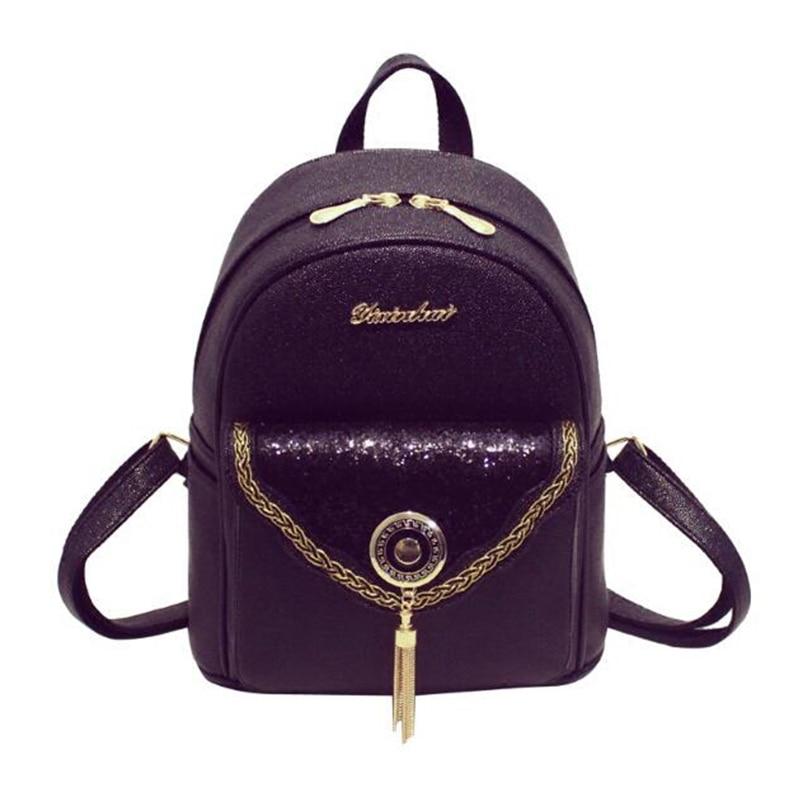 Tassels Women Bag Backpacks Female Korean PU Preppy School Backpacks 2017 Sequins fashion trends ladies leisure