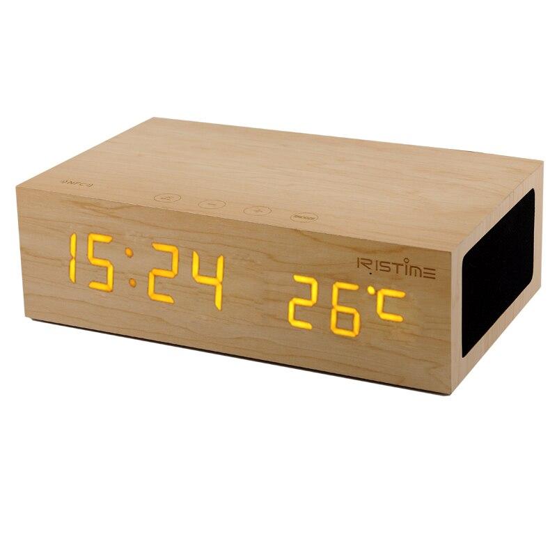 Wireless Portable Bluetooth Music Speaker Wooden Bluetooth Alarm Clock Calling Tempetature Time Display Speaker System 2in1 wireless bluetooth speaker