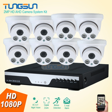 HD 8 Channel Home 2MP Security Camera 1080P System AHD Video Surveillance System Indoor White 2 Array LED Dome 8CH DVR Record