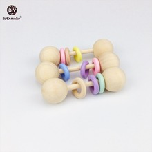 Let s Make Baby Rattles 6pcs Teething Wooden Ring Play Gym Baby Teether Chew Montessori Stroller