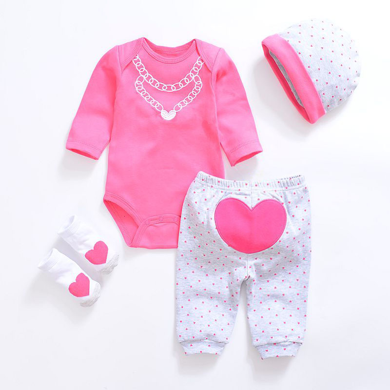 2019 Baby Girl Clothes 4pcs Clothing Set Pink Cotton Romper White Dot Pant Heart Shoes Cuties Hat Newborn Clothes