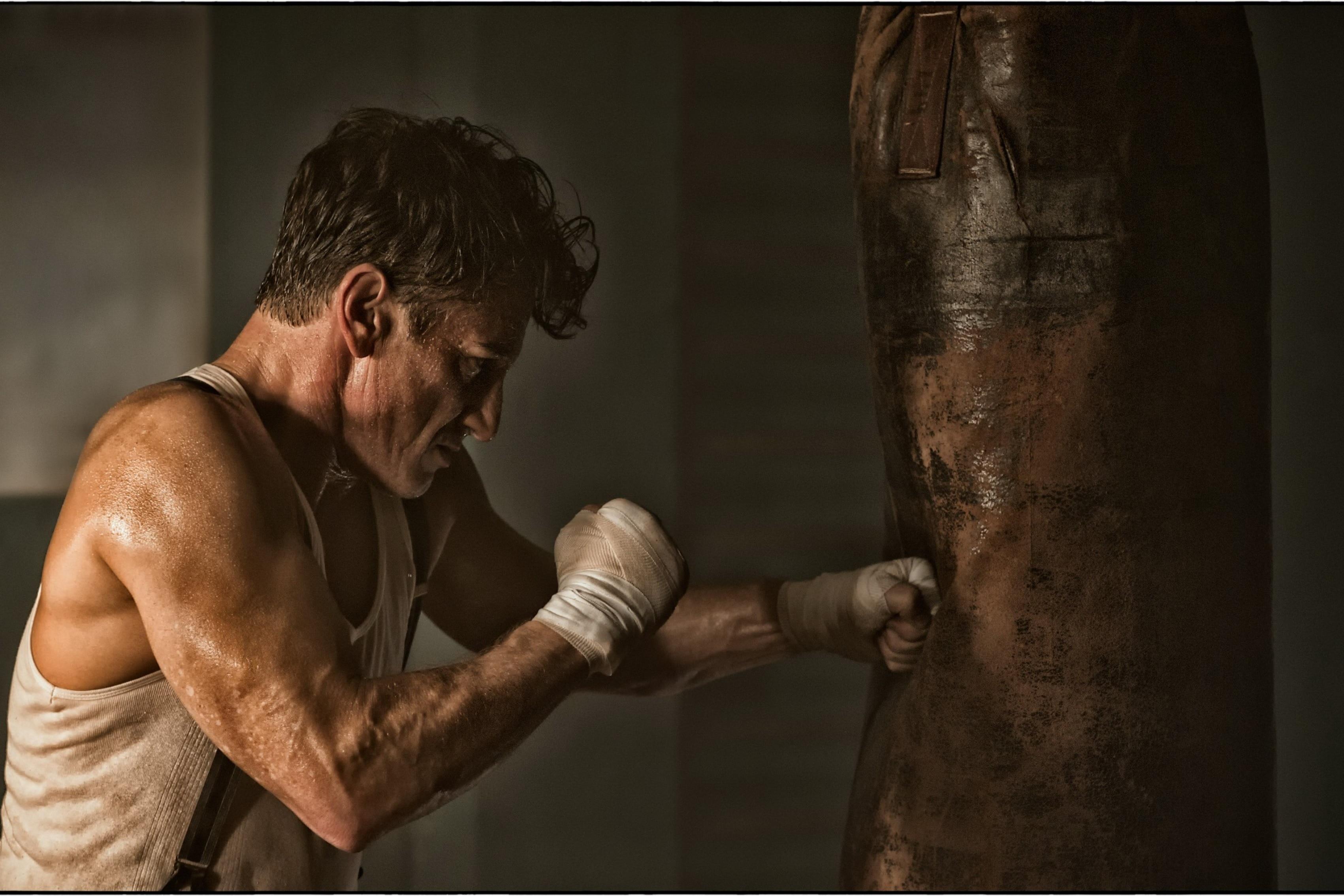 ₩Boxeo hombre duro entrenamiento Sala Arte decoración madera marco ...