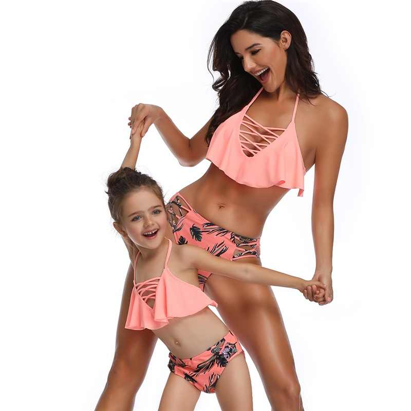 0c6bfb5e994ba Mommy and Me Bikini Family Matching Clothes Swimwear Outfits Look Mother  and Daughter Swimsuits Mom Mum Baby Dresses Clothing