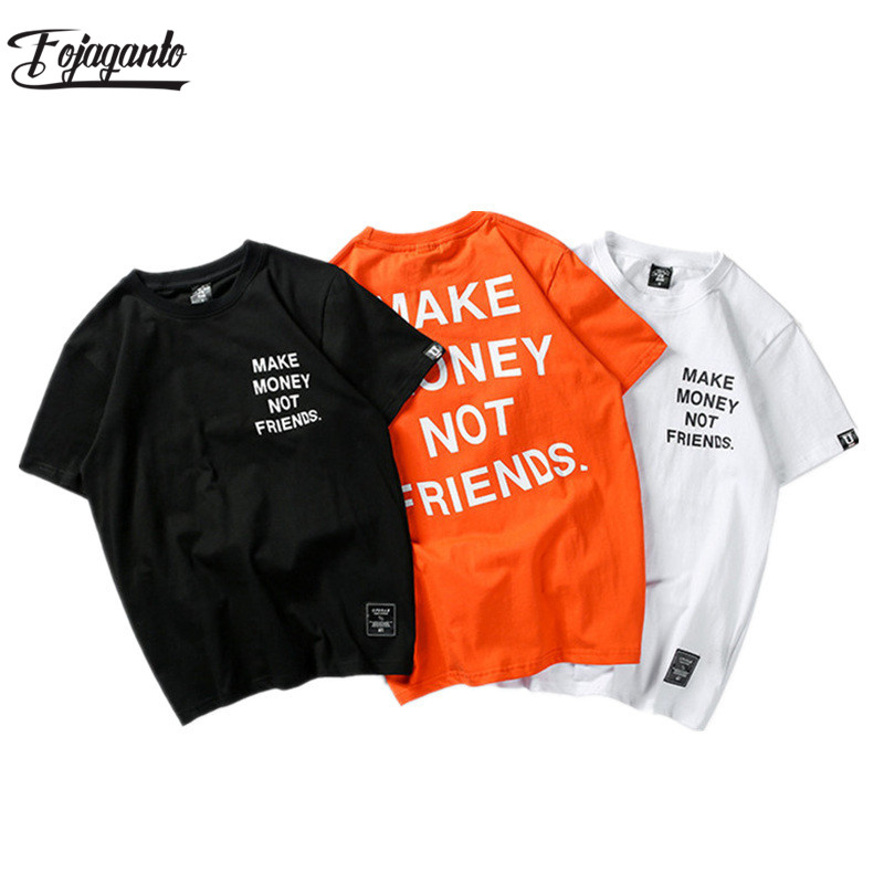 FOJAGANTO Fashion Men T-Shirts Summer Brand High Quality Hip Hop Letter Printing Men's T Shirt  2019 Male Cotton T Shirts