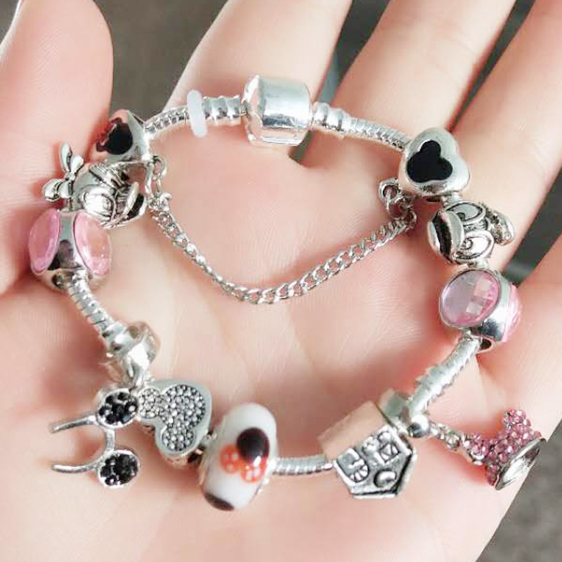 JUNESNOW Top Luxury Charm Bracelet Fot Women With Mickey Crystal Beads Silver Plated Sna ...