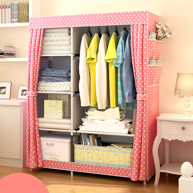 Image 4 - When the quarter DIY Wardrobe Non woven Cloth Wardrobe Closet Folding Portable Clothing Storage Cabinet Bedroom Furniture-in Wardrobes from Furniture