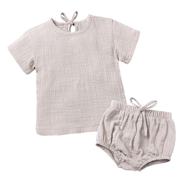 Infant Toddler Kids Baby Boys Girls Flax linen Clothes Casual Sleeve Short T-Shirt Shorts Sleep Outfit Sets 6 Months to 3 Years | Happy Baby Mama