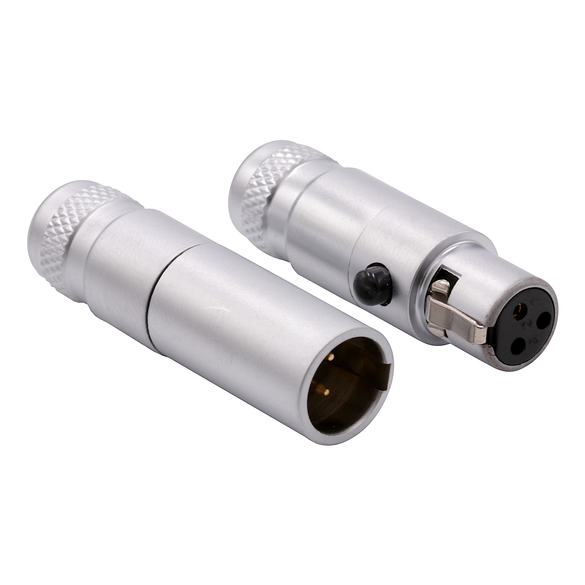 Lot 2 XLR 4pin Nickel Housing Female Plug Cable Connector w//Silver Contact Poles