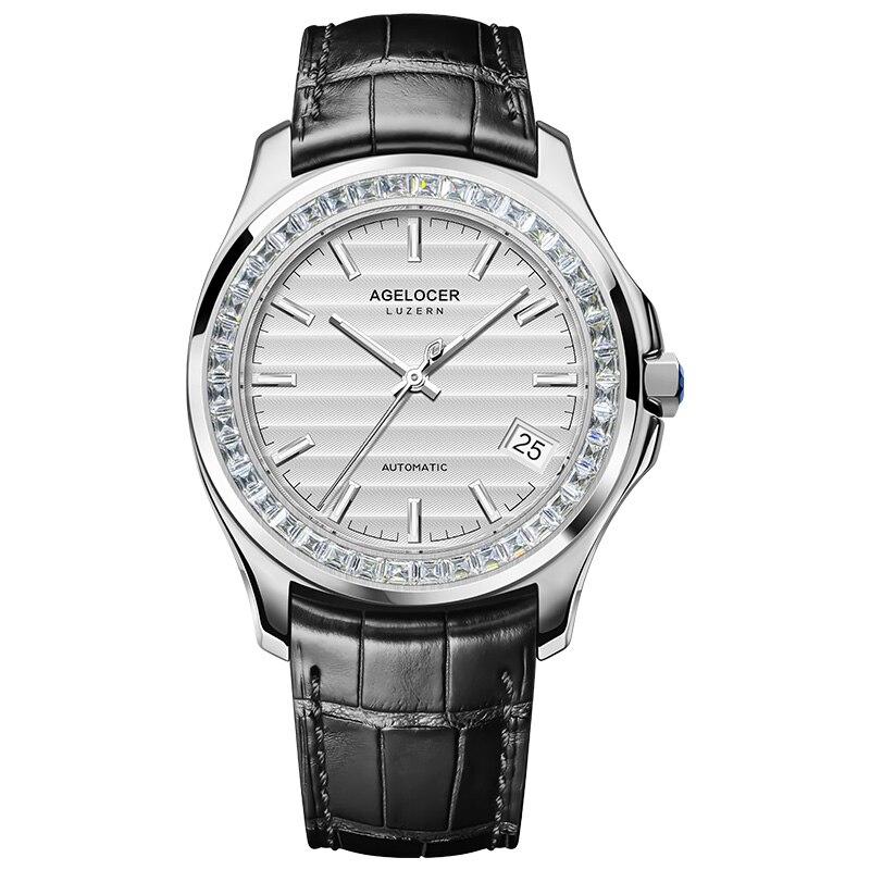 Original Brand Agelcoer Luxury Watch Men Automatic Gem-set 40pcs Swarovski Crystal Stone Genuine Leather Watch 6301E1