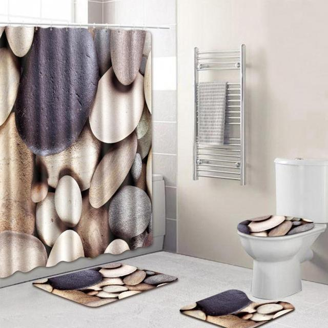 2018 NEW HOT SALES 8 Types 4Pcs Set Bathroom Non-Slip Pedestal Rug + Lid Toilet Cover + Bath Mat+Shower curtain