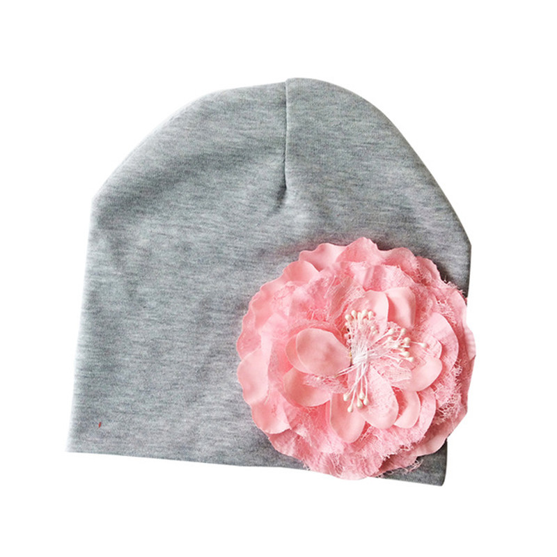 c0d7e752bc8 2019 Newborn Baby Hat With Flower Cotton Knit Girl Caps Big Peony ...