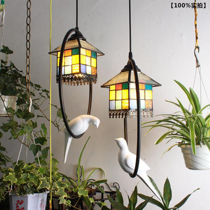 Tiffany Home Garden pendant lamp Retro Aisle Desk Lamp Creative Bird Small Pendant Light Restaurant Kitchen Decor LED lamps tiffany restaurant in front of the hotel cafe bar small aisle entrance hall creative pendant light mediterranean df66