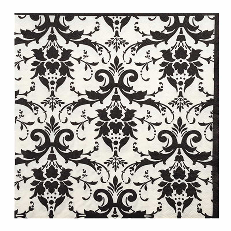274 20 Serviettes En Papier Vintage Tissu Noir Et Blanc Motif Amour Coeur Decoupage Mariage Fête Festive Dîner Décor Serviette In Jetable Partie