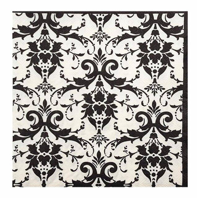 20 Vintage Papier Servietten Tissue Schwarz Und Weiss Muster Liebe