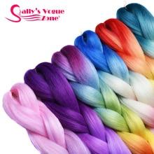 Sallyhair 10 пачек Красочные Высокая Температура Синтетический Джамбо Крючком Косы Ombre Плетение Волос Оптом Расширение Черный Белые Женщины
