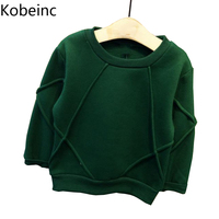 Kobeinc Stripe Thick Boys Sweatshirt Solid Color Cotton Warm Children Clothing All Match Long Sleeves Kids