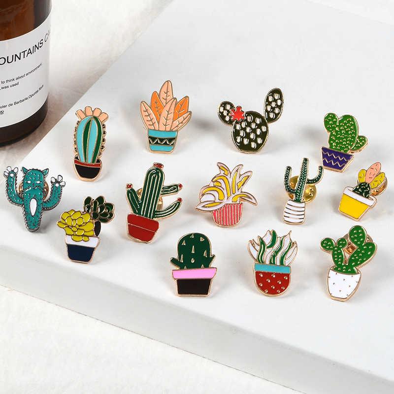 Estate del fumetto pianta Spilli Spille Verde In Vaso pianta di Cactus Dello Smalto Spille Carino piccolo Risvolto Spilli Distintivi e Simboli vestiti Borse Gioielli Regali
